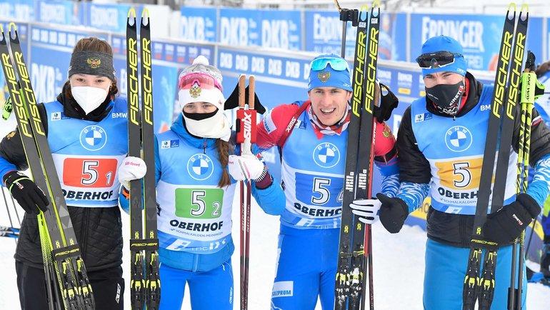 Ульяна Кайшева, Светлана Миронова, Эдуард Латыпов, Александр Логинов (слева направо). Фото AFP