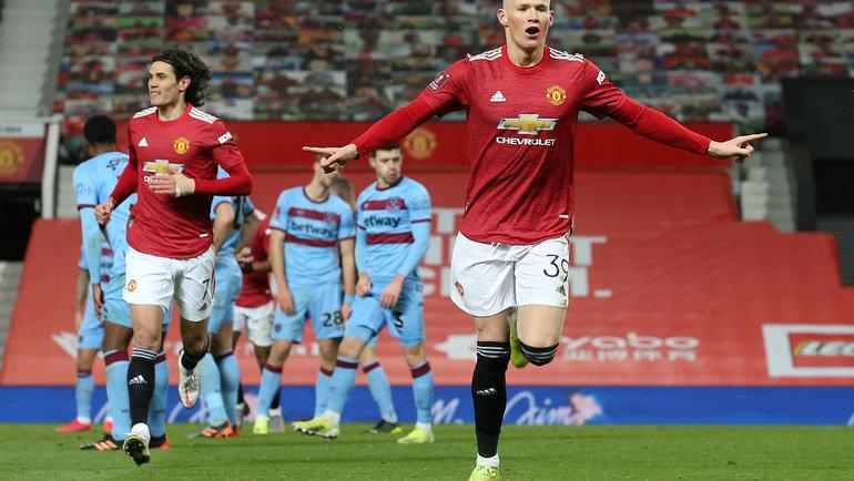 """""""Манчестер Юнайтед"""" - """"Вест Хэм"""" - 1:0. Скотт Мактоминэй празднует единственный гол в матче. Фото """"Манчестер Юнайтед"""""""