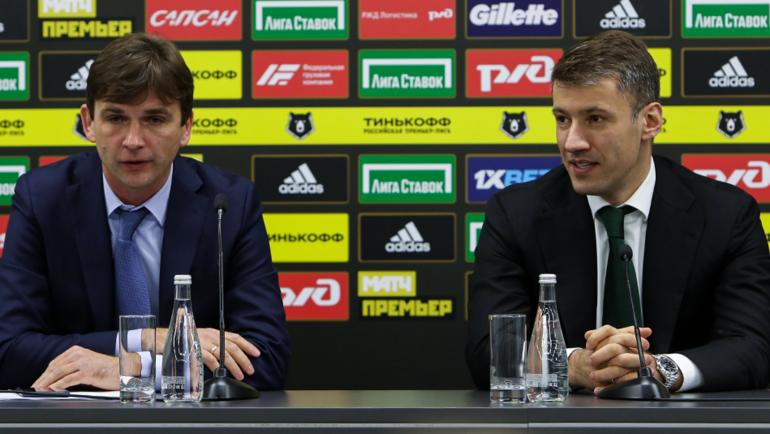 Председатель совета директоровФК «Локомотив» Александр Плутник (справа) иВладимир Леонченко. Фото ФК «Локомотив»