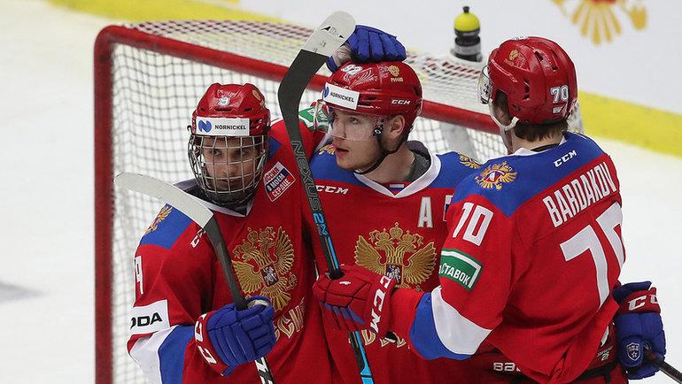 Сборная России победила наэтапе Евротура. Фото ФХР