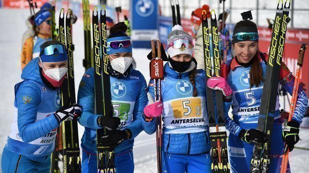 Евгения Павлова, Татьяна Акимова, Светлана Миронова иУльяна Кайшева. Фото AFP