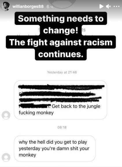 Виллиан подвергся расистским оскорблениям.
