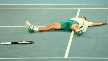 Эмоции Джоковича после победы над Медведевым вфинале Australian Open. Видео