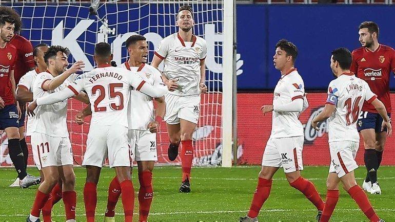 22февраля. «Осасуна»— «Севилья»— 0:2, Диегу Карлос забивает первый гол гостей. Фото AFP