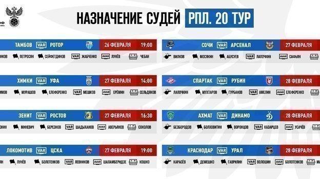 Судьи на матчи 20-го тура чемпионата России-2020/21. Фото РФС