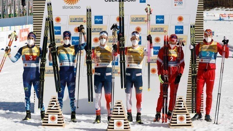 28февраля. Оберстдорф. Победители ипризеры командного спринта. Фото AFP
