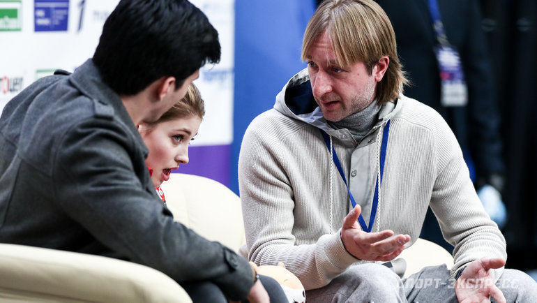 Сергей Розанов, Алена Косторная, Евгений Плющенко. Фото Дарья Исаева., «СЭ» / Canon EOS-1D X Mark II