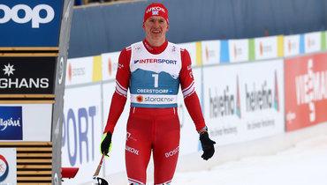 7марта. Оберстдорф. Александр Большунов после финиша.