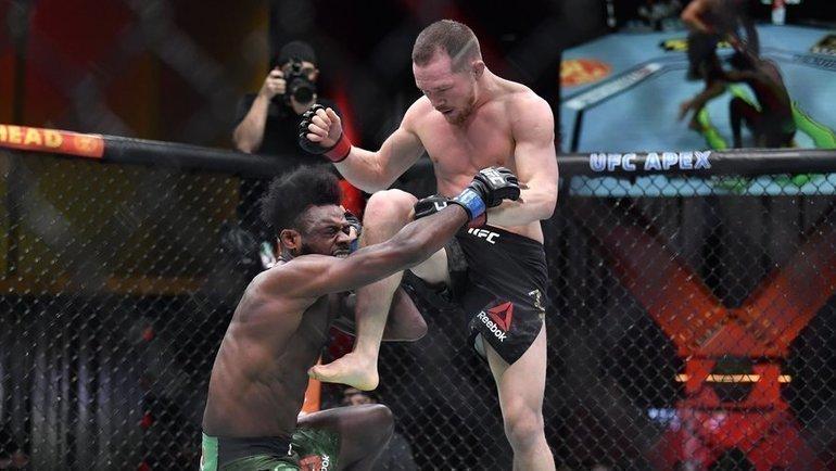Петр Яннаносит удар коленом вголову Алджамейну Стерлингу. Фото UFC