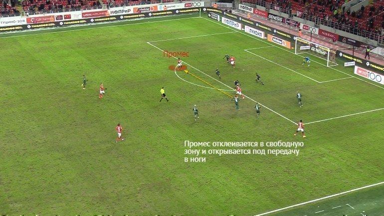 Эпизод матча 21-го тура РПЛ «Спартак»— «Краснодар»— 6:1.