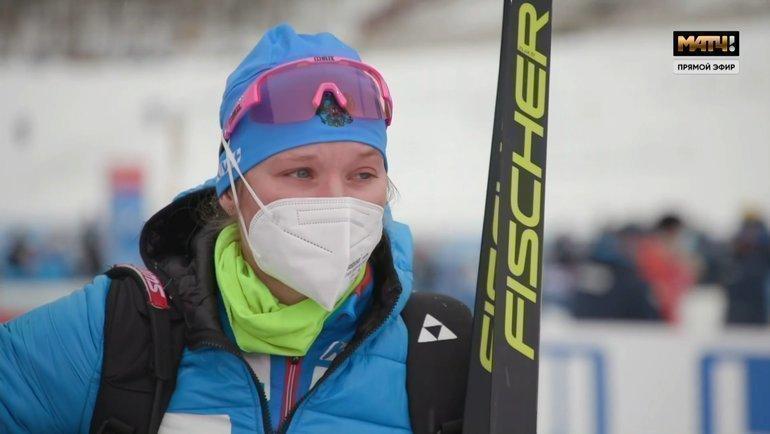 Ирина Казакевич после спринта вЭстерсунде. Фото Скриншот эфира «МатчТВ»