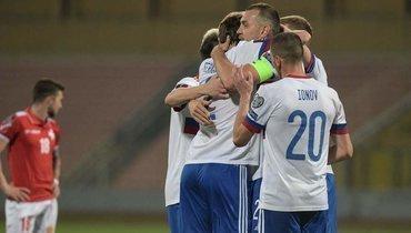 24марта. ТаКали. Мальта— Россия— 1:3. 35-я минута. Россияне празднуют второй гол.