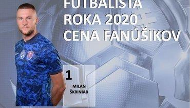 Шкриньяр второй год подряд назван футболистом года вСловакии