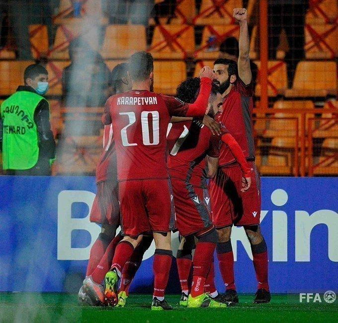 Сборная Армении празднует гол в ворота Исландии. Фото Федерация футбола Армении