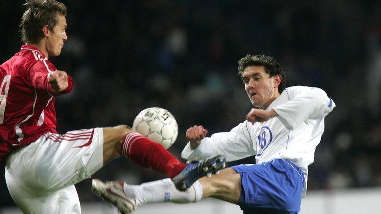 16ноября 2005 года. Копенгаген. Дания— Россия— 3:1. Юрий Жирков (справа). Фото AFP