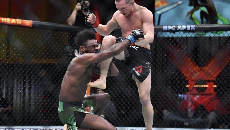 Петр Ян наносит запрещенный удар Алджамейну Стерлингу. Фото MMA Fighting