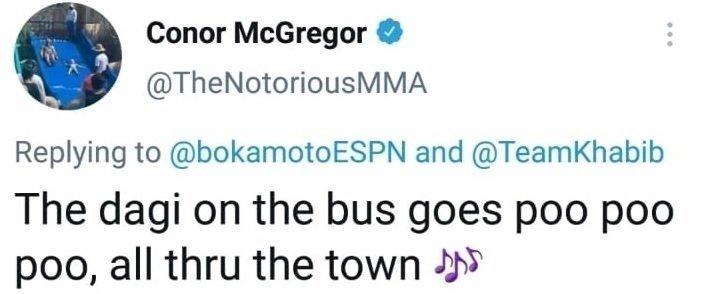 Удаленный пост Конора Макгрегора в Twitter.