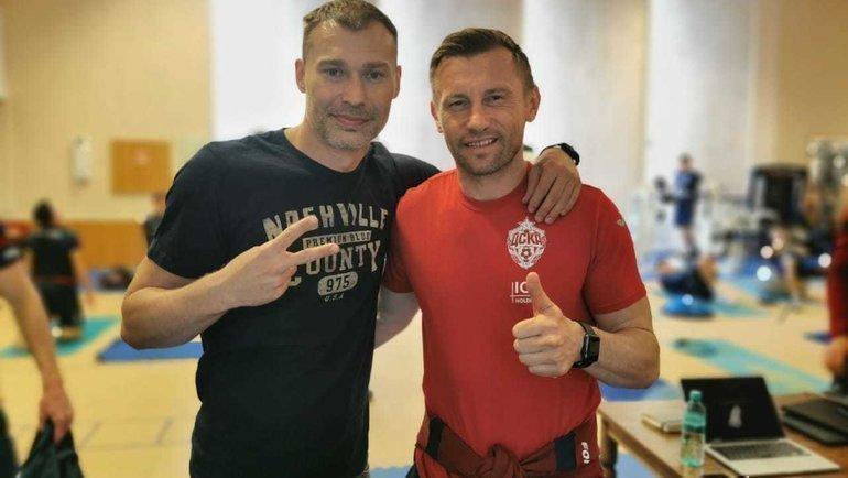 Василий Березуцкий иИвица Олич (справа). Фото ПФК ЦСКА.