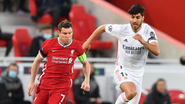 14апреля. Ливерпуль. «Ливерпуль»— «Реал»— 0:0. Джеймс Милнер (слева). Фото AFP