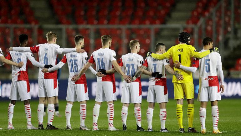 15апреля. Игроки «Славии» перед матчем с «Арсеналом». Фото Reuters