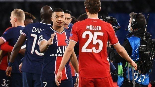 Кильян Мбаппе иТомас Мюллер: «ПСЖ»— «Бавария»— лишь один изпримеров действия правила гостевого гола веврокубках. Фото AFP