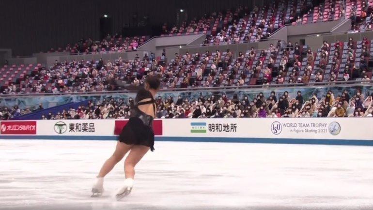 Ребро натройном лутце Каори Сакамото.