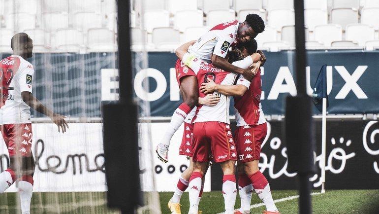 Футболисты «Монако» празднуют один изголов вворота «Бордо». Фото ФК «Монако»