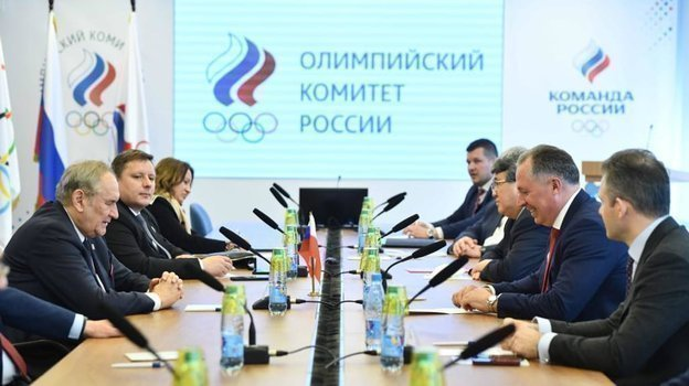 Рабочая встреча Президента ОКР Станислава Позднякова с делегацией национального олимпийского комитета Польши.
