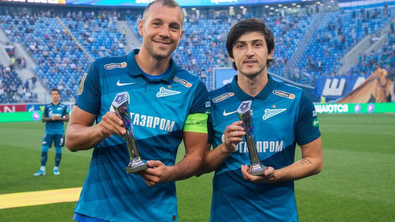 Нападающие «Зенита» Артем Дзюба (слева) иСердар Азмун. Фото Вячеслав Евдокимов, ФК «Зенит»