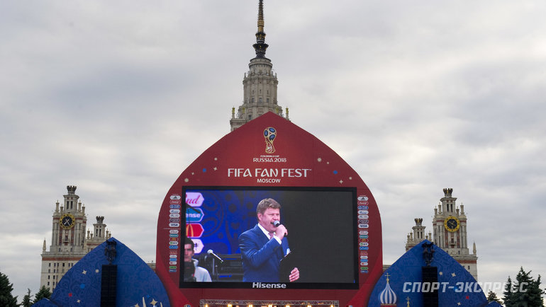 Дмитрий Губерниев вфан-зоне ЧМ-2018. Фото Федор Успенский, «СЭ»