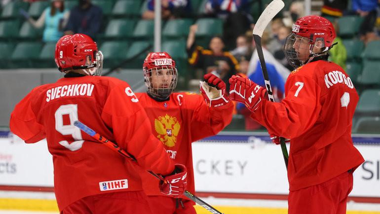 Сборная России обыграла Белоруссию в1/4 финала ЮЧМ-2021. Фото IIHF