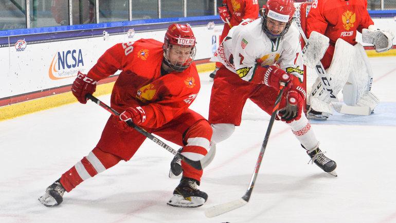 Сборная России обыграла Белоруссию ивышла вполуфинал ЮЧМ-2021. Фото IIHF