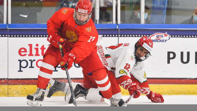 3мая. Плейно. Россия U18— Белоруссия U18— 5:2. Русские юниоры вышли вполуфинал чемпионата мира. Фото IIHF