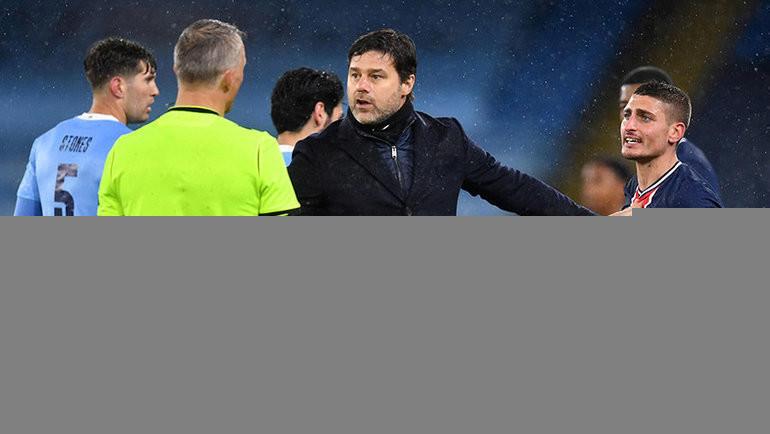 4мая. Манчестер. «Манчестер Сити»— «ПСЖ»— 2:0. Марко Верратти (справа) конфликтует сарбитром. Фото Reuters