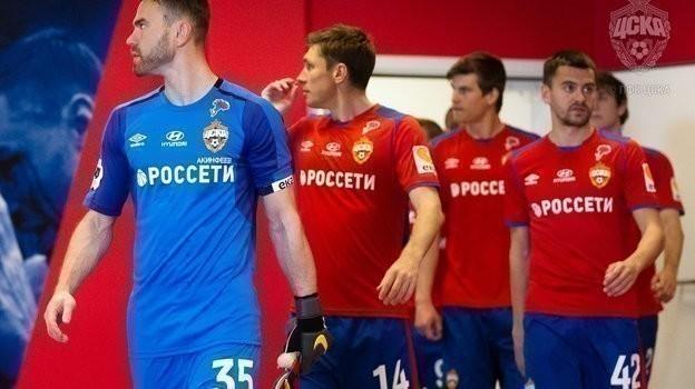 Игроки ЦСКА вышли на поле в форме с изображением значка «Красная гвоздика» на груди. Фото ПФК ЦСКА