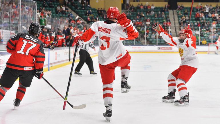7мая. Канада— Россия— 5:3. Матвей Мичков радуется голу. Фото IIHF