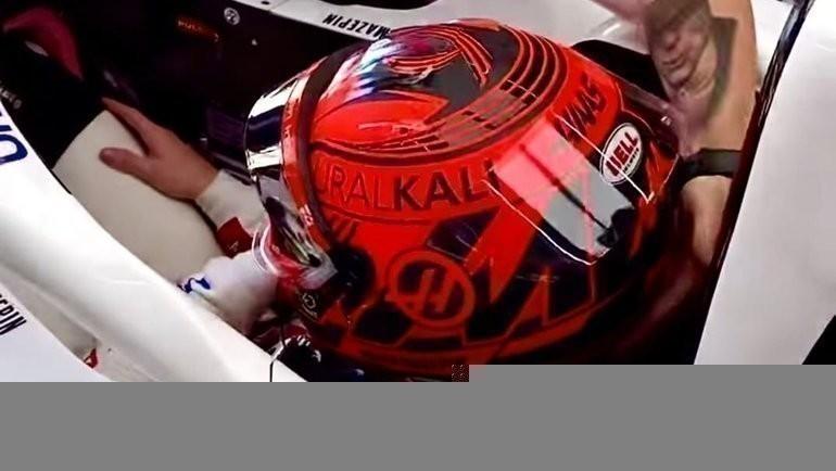 Мазепин добавил георгиевскую ленту на шлем в честь Дня Победы. Фото Haas F1 Team, Instagram