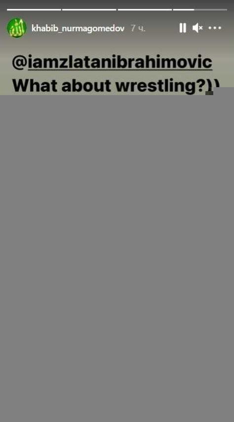 «Акак насчет побороться?»— написал Хабиб всториз Instagram вответ навидео Ибрагимовича. Фото Instagram