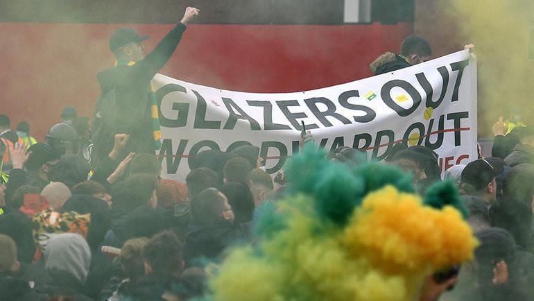 Фанаты «Манчестер Юнайтед» протестуют против руководства клуба. Фото AFP