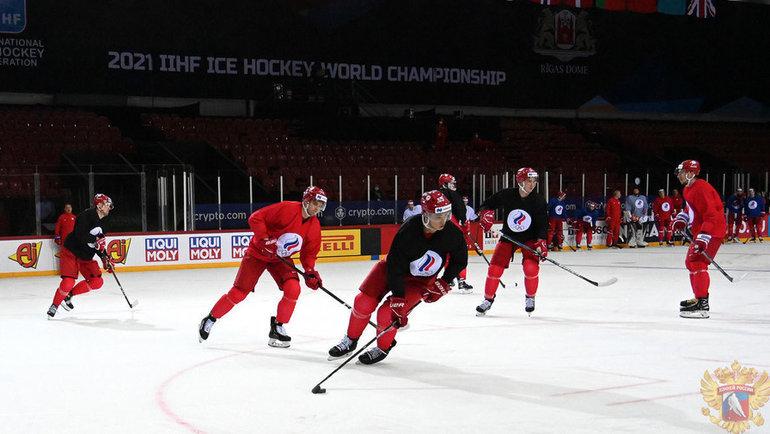 Тренировка сборной россии. Фото ФХР