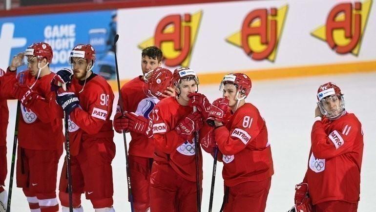 24мая. Рига. Словакия— Россия— 3:1. Хоккеисты сборной России после матча. Фото AFP