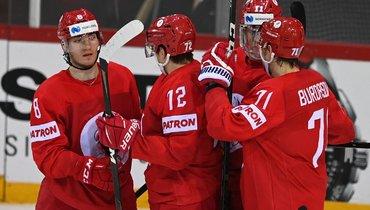 26мая. Рига. Россия— Дания— 3:0. Хоккеисты сборной России празднуют первый гол Ивана Морозова (№8).