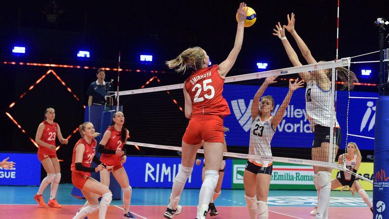 Женская сборная России проиграла Голландии. Фото vk.com/volleyballvfv