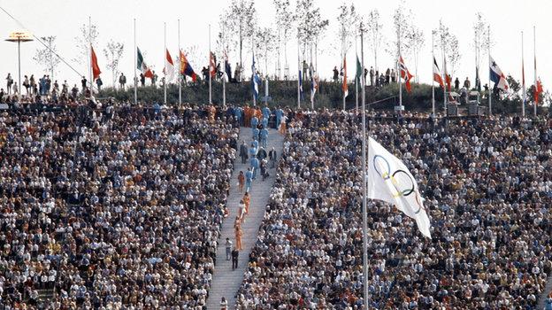 Приспущенный флаг наОлимпийских Играх вМюнхене.