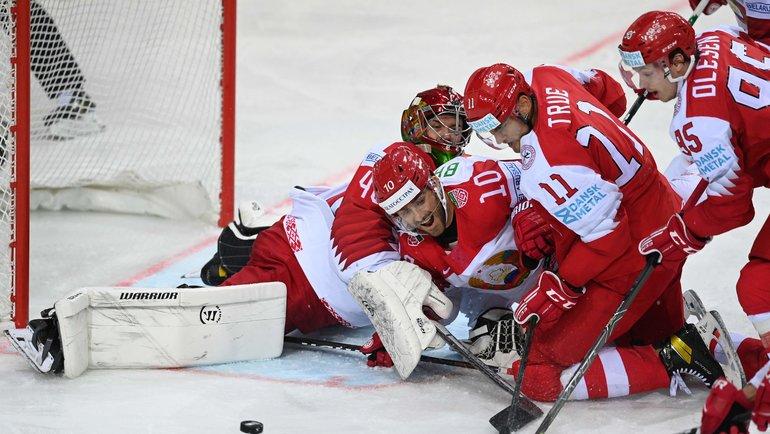 28мая. Рига. Дания— Белоруссия— 5:2. Белорусы вели после двух периодов, новтретьем пропустили 4 шайбы за8 минут. Фото AFP