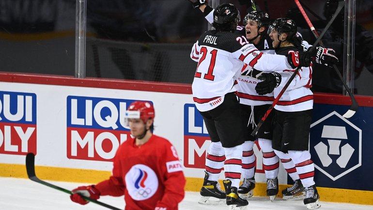 3июня. Рига. Россия— Канада— 1:2 ОТ. Радость канадцев. Фото AFP