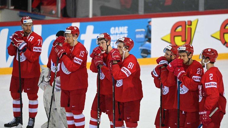 Хоккеисты сборной России после поражения отКанады. Фото AFP