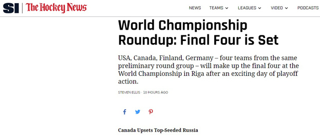 Sports Illustrated— оматче Россия— Канада.