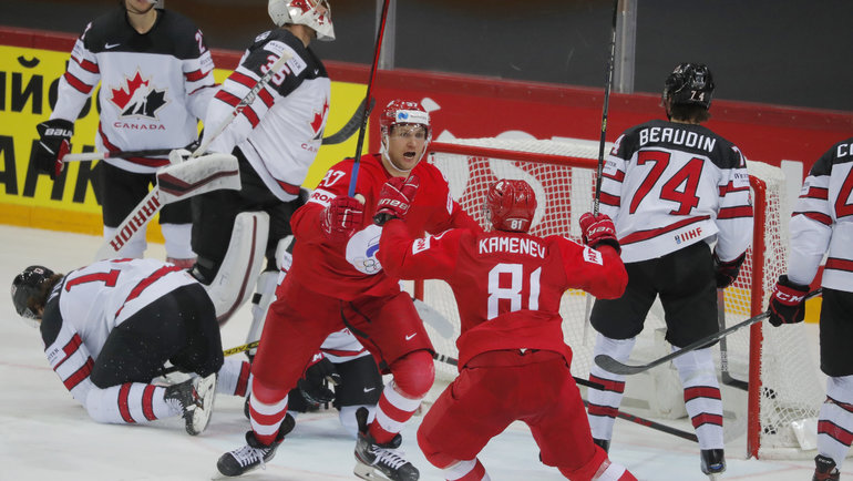 3июня. Рига. Россия— Канада— 1:2 ОТ. Евгений Тимкин забросил шайбу вворота канадцев. Фото Reuters
