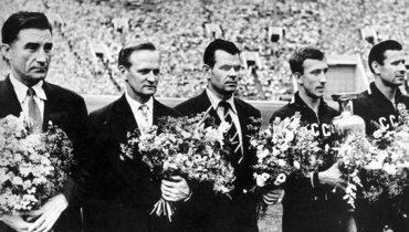 Чествование сборной СССР после победы начемпионате Европы-1960.